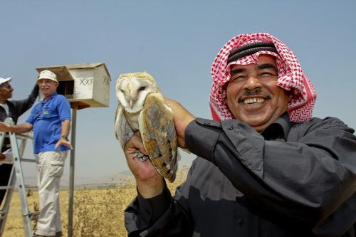 """مَزَارِع أردنيّ يحمل بومة من بُوم الحظائر في كيبوتز """"سديه إلياهو"""" في إسرائيل."""