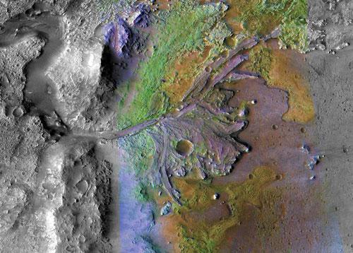 """سوف تستكشف مركبة """"بيرسيفيرانس"""" دلتا نهر قديم، حيث تدفَّق الماء فيما مضى على سطح المريخ."""